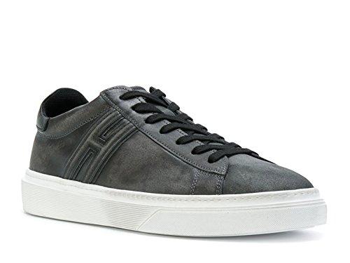 Hogan Sneakers Uomo in Pelle Scamosciato Grigio Scuro - Codice Modello: HXM3400J310HT70XF9 Grigio Scuro