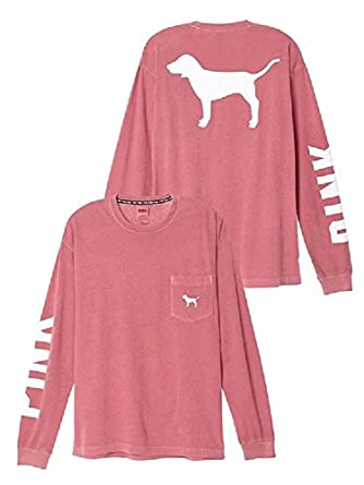 Victoria's Secret PINK Campus Long Sleeve Dog Logo Tee Shirt Large Begonia at Amazon Women's