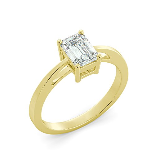 (Emerald Cut Solitaire Ring Charles & Colvard Forever One Moissanite Engagement Your choice of 14k White Rose or Yellow Gold 1.01 tcw)