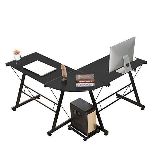 DlandHome L-Shaped Glass Computer Desk 49.2