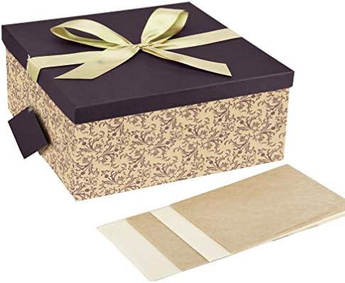 Caja grande de regalo plegable con lazo y colgante color marrón ...