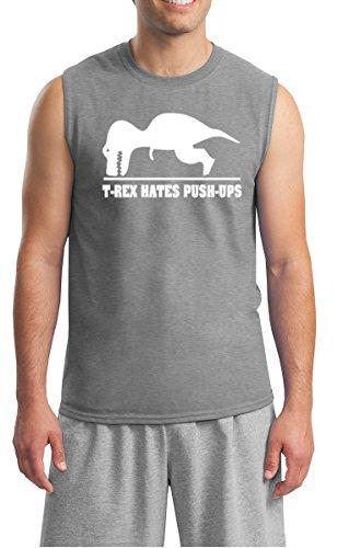 YM Wear Men's T-Rex Hates Pushups Funny Novelty Muscle Tank Sleeveless T Shirt 2X-Large Sports Gray