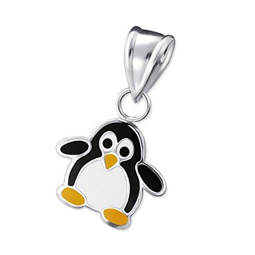 So Chic Bijoux © Enfant Pendentif Penguin Email Couleur Argent 925