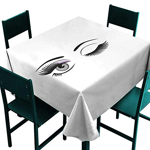 All of better Eyelash Table Cover Cartoon Style Dramatic Woman Eyes with Long Lashes Winking Flirting Gesture Lilac Grey Black Small Square Tablecloth W 36