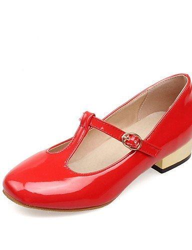 Rosso Red Scarpe e ShangYi Bianco Formale Nero Chiusa Ufficio Basso Ballerine Punta Vernice Casual Donna lavoro arrotondata axdwd6qR