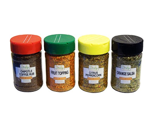 Spices - Seasonings - Herbs by SIMPLY SPICE RUBS - 4 Pack Combo Gourmet Seasoning Blends - Gift Set Collection - All Purpose Healthy Spices - Use for Grilling, Cooking, BBQ, Meat & Rib Rub