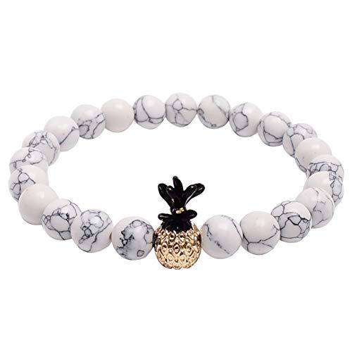 CHoppyWAVE Bracelets Fashion 8mm Beaded Elastic Bracelet Pineapple Bangle Wrist Jewelry Birthday Gift - White (Jade Gold White Bangles)