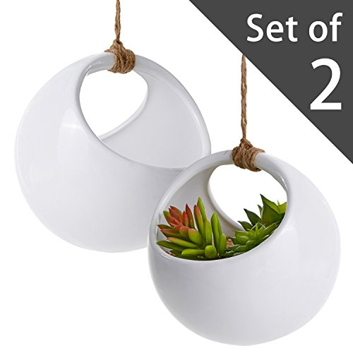Modern Round Hanging White Ceramic Planter Pots with Jute Twine Rope, Set of 2