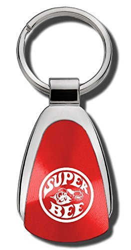 Dodge Super Bee Red Teardrop Shaped Key Chain Keychain FOB Ring (Mopar Super Bee)