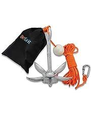 BeGrit Kit de Anclaje de Barco pequeño, Plegable, Acero al Carbono, para Canoa Jet, esquí, Sup y Tabla de Paddle,1,5 kg con Bolsa de Transporte de Cuerda de Remolque de 10 m