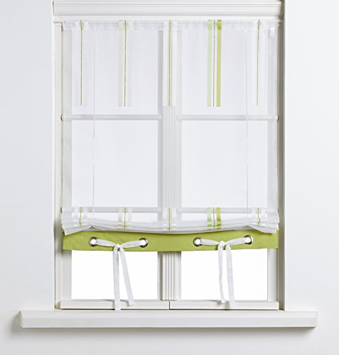 Startex 22481 2204 02 Bändchenraffrollo, 80 x 135 cm, grün / beige
