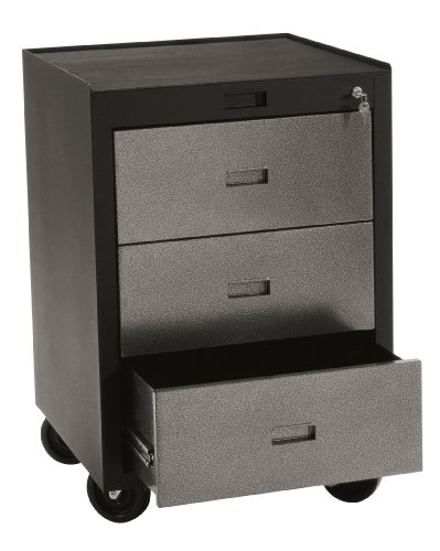 Edsal PMB783D Industrial Gray Heavy Duty Steel Modular Workspace Storage System Mobile Tool Cabinet , 3 Drawers,  30