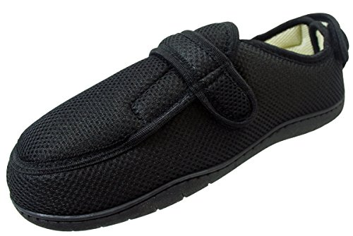Surf 4 Shoes Mens Ladies Black Very Wide E/5E Opens Out Flat Memory Foam Touch Fastening Slippers Non Slip Size 6 UK (EU 39) WSoLfJ
