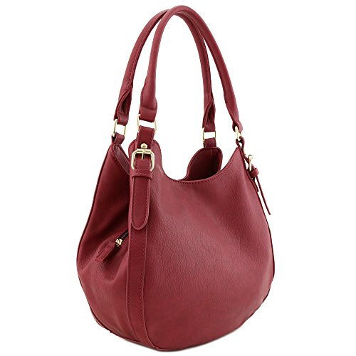 Light-weight 3 Compartment Faux Leather Medium Hobo Bag Burgundy ()
