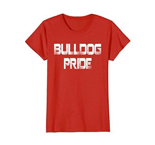 Womens Bulldog Pride T Shirt for Sports School Spirit Shirt Tee Small Red