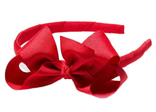 "Anna Belen ""Lila"" Grosgrain Bow Headband O/S Red"