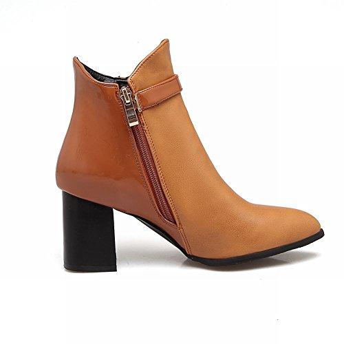 Short Boots High Zip Buckle Yellow Carolbar Womens brown Heel Pointed Toe Vintage nYwqXzC86x
