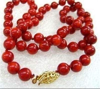 FidgetGear Beautiful Charming 10mm Red Sea Coral Round Beads Necklace 18