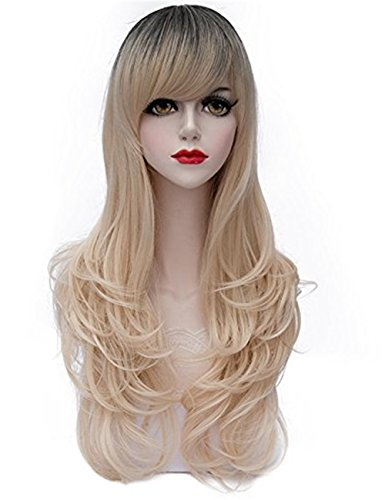 TopWigy Blonde Wigs with Bangs Women Wig Long Wavy Lolita Costume Cosplay Synthetic Wig Light(Blonde 28