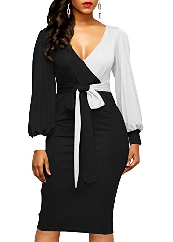 LAVENCHY Womens Vogue Long Balloon Sleeve Waist Belt Sexy Christmas Wedding Bodycon Skirt Dress For Women Black,S (Balloon Skirt Dress)
