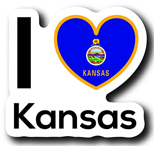 Love Kansas State Decal Sticker Home Pride Travel Car Truck Van Bumper Window Laptop Cup Wall One 5 Inch Decal MKS0016