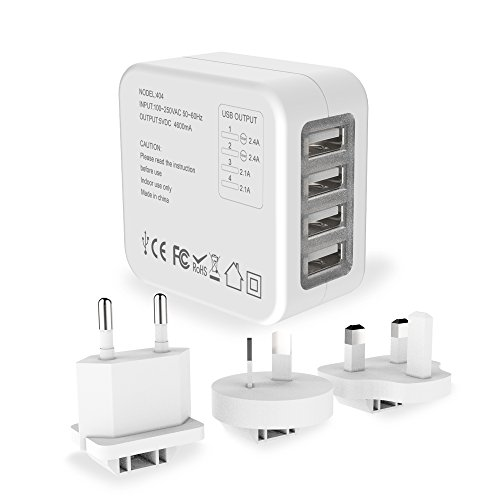 Travel Adapter MoMoCity Universal 4-Port Wall Charger with US UK EU Plugs – For Smart Phones,Tablets,Music Players,Cameras and More – White by MoMoCity