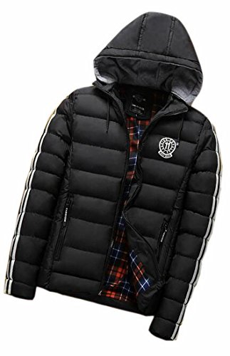 today-UK Mens Winter Thicken Down Quilted Puffer Hooded Outwear Coat Black
