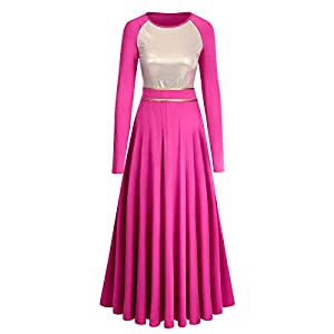 IBAKOM Women Metallic Gold Liturgical Praise Dance Worship Dress Color Block Long Loose Fit Full Length Church Robe…