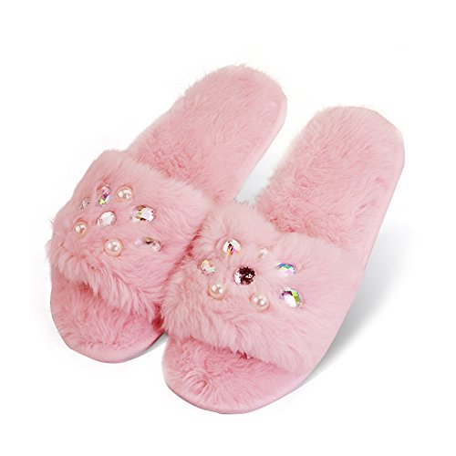Sexy Platform Mules - VLLY Women's Casual Ladies Girls Plush Mules Slippers Non-Slip Comfortable Memory Foam Indoor Slip-on Shoes US 9-10 Pink (FBA)