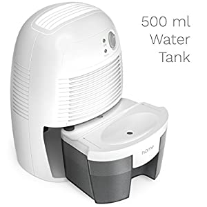 hOme Small Dehumidifier for 1200 cu ft (150 sq ft) Bathroom or Closet - 16 oz Capacity Mini Quiet Safe Compact Thermoelectric Energy Efficient Dehumidifier Air Purifier - Auto Shut Off