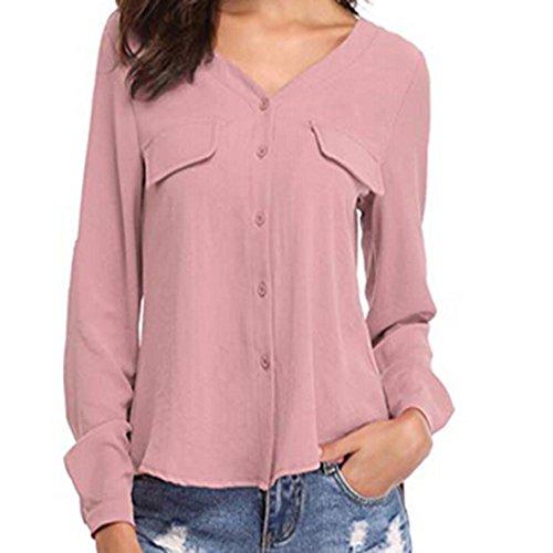 Damen V-Ausschnitt Knopf Langarm Tops DOLDOA Oberteile T-Shirt Bluse Rosa