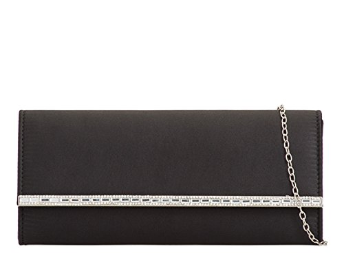 LeahWard Women's Satin Clutch Bag Diamante Wedding Evening Night Out Bags 2087 Black