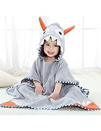 Children's Bath Towel Hooded Cloak, Printed Beach Towel 100% Cotton Cartoon Style Bathrobe Pajamas Crawling Set 70 * 140cm