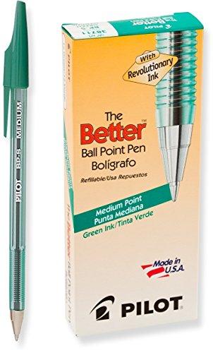Pilot The Better Ballpoint Stick Pens, Medium Point, Green Ink, Dozen Box (38711)