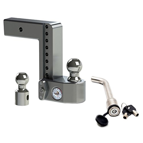 Weigh Safe WS8-2.5 Adjustable 8'' Drop Hitch Mount for 2.5'' Shank w/ KEYED-ALIKE 3-1/2'' x 5/8'' Hitch Locking Pin by Weigh Safe
