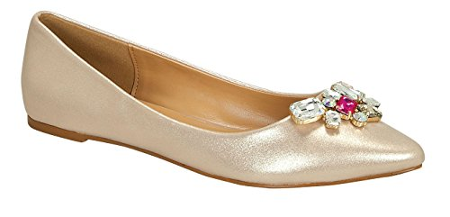 Liam-11 Women's Casual Flower Clear Beads Slip On Sweet loafer Flat Shoes Champagne 8.5