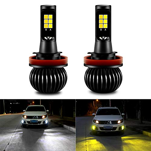 CIIHON H8 H11 Led Fog Lights Bulbs Fog Lamps 35W 1900LM 6000K White 3000K Yellow All in One Dual Color Car Lights for DRL Fog Lights Not Headlight Pack of 2, 2 Years Warranty