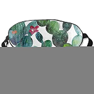 All agree Sleep Mask Watercolor Cactus Flower Tropical Eye Mask Cover with Adjustable Strap Eyepatch for Travel, Nap, Meditation, Blindfold