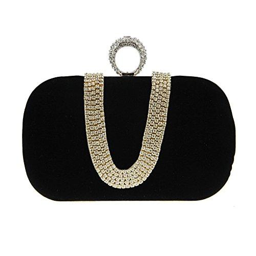 Ladies Sparking Crystal Rhinestone Clutch Handbag Bridal Wedding Evening Party Purse Detachable Chain (Guess Handbag Pearl)