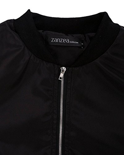 ZANZEA Ladies Celeb Collar Bomber Jacket Vintage Zip Up Biker Slim Coat Short Outerwear Black 6-8