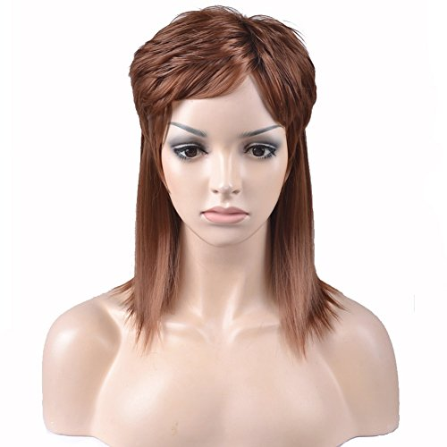 [RightOn 16'' New Vogue Men's Mullet Wig Costume Party Synthetic Wigs Hairnet Included (Brown)] (Mullet Costumes Wig)