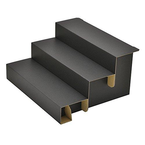 Original Works Knockdown Cardboard Risers 3 Step Display for Jewelry Black W 11.58 in x D 10.04 in x H 5.91 in (Made in Japan) 44-5801