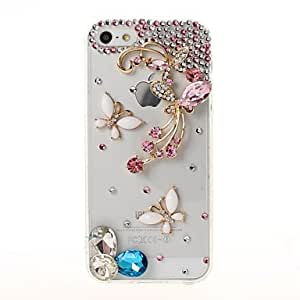 LIMME 3D Butterfly Flower with Rhinestone Pattern Plastic Case and TPU Frame for iPhone 5/5S