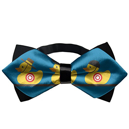AMERICAN TANG Mens Black Bowtie Gift Rubber Yellow Duck Art Bow Ties For Men Teen Boys -