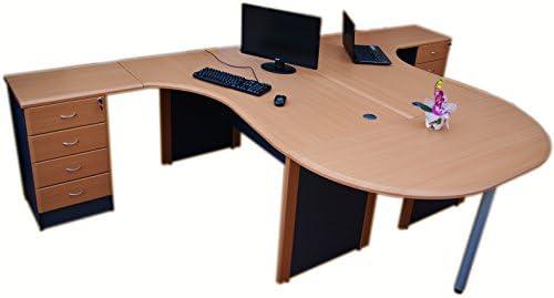 Estación de trabajo esquina escritorios con Half Moon mesa de ...
