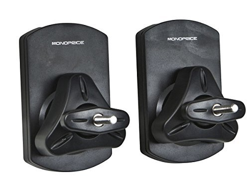 Monoprice Low Profile Universal Speaker Wall Mount Brackets 1 Pair 22 lb. Capacity - Black (111410) (Speaker Wall Mount)