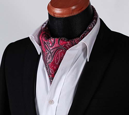 Jacquard Black Red Men's Ascot Set Woven HISDERN Floral ExY04wf4q