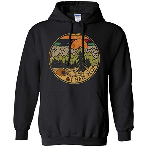Cute Vintage Fire Camping I Hate People Hoodie - Sweatshirt - Long Sleeve - Hate Hoodie I People