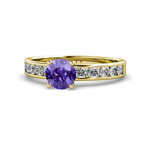 Iolite and Diamond (SI2-I1, G-H) Engagement Ring 1.87 Carat tw in 14K Yellow Gold.size 7.25