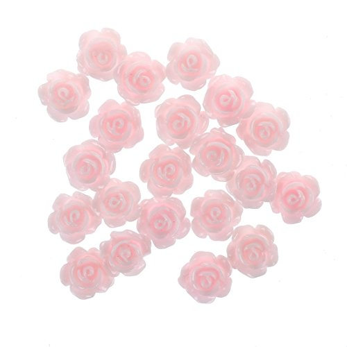 (SODIAL(R) 20pcs 3D Pink Little Rose Flower with Rhinestones Nail Art Decoration)